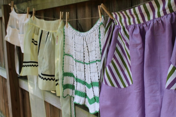 Vintage Half Apron - Purple with Purple and Green Stripes