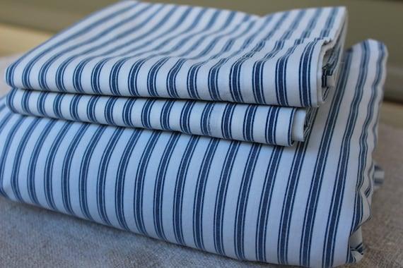Vintage Blue Stripe Sheet Set Ticking Blue Queen Fitted