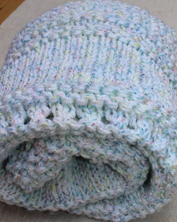 Vintage Afghan - Knitted - Multi-Color - Baby Blue