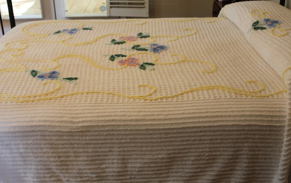 New Vintage Chenille Bedspread - Colorful Flowers on Creamy White - New - Full or Queen Coverlet - Sears