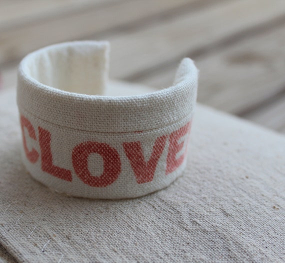 Textile Cuff Bracelet - Vintage Grainsack - Adjustable - Red and Natural - Red Clover