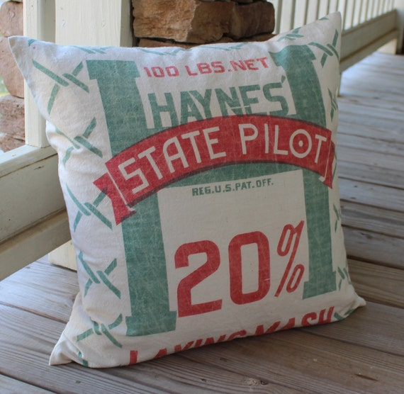 Vintage Feed Sack Pillow - State Pilot - Green and Red - 20 Inch