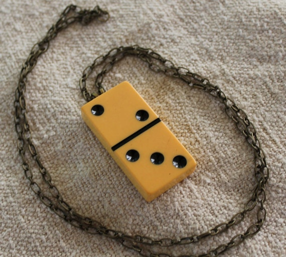 Domino Necklace - Antiqued Brass Chain - Long Chain - Butterscotch Bakelite