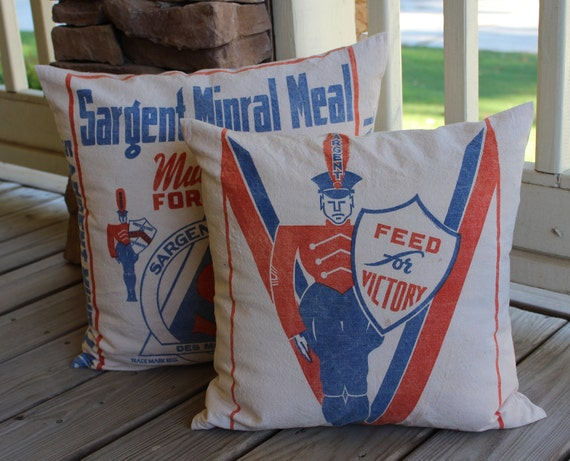 Vintage Feed Sack Pillow  - Sargent Minral Meal - Grain Sack Pillow - Orange and Blue - Des Moines Iowa - Victory
