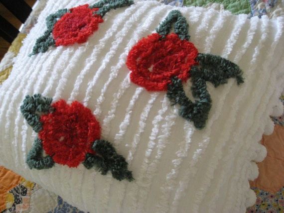 White Chenille Pillow with Red Roses and Poms