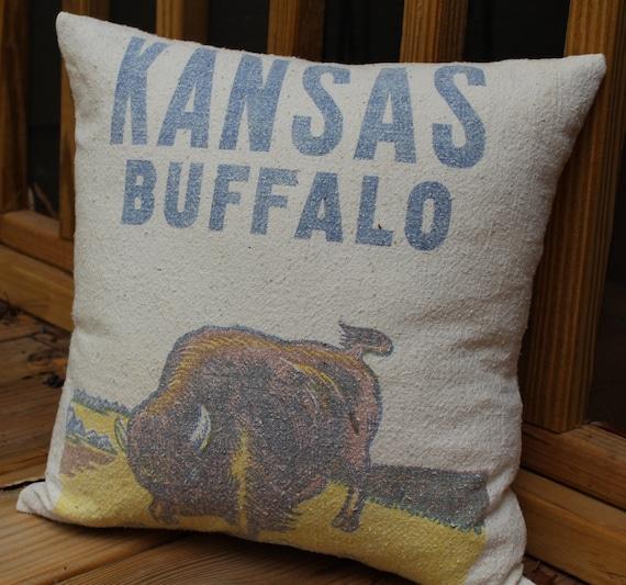 Vintage Feed Sack Pillow - Kansas Buffalo - Alfalfa Seed