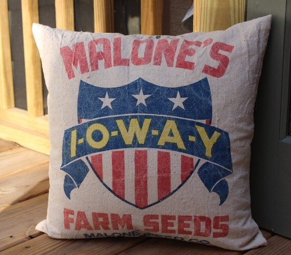 Vintage Feed Sack Pillow - Malone's IOWAY Farm Seeds - Atlantic Iowa - Patriotic - Red White Blue Stars