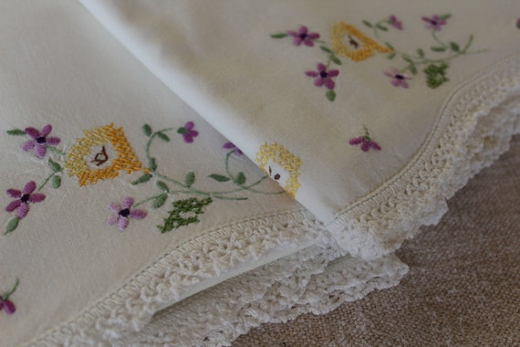 Vintage Cotton Muslin Pillowcases with Purple Yellow and Green Floral Embroidery - Hand Crochet Trim - Spring Fresh - Pair of Cotton Muslin