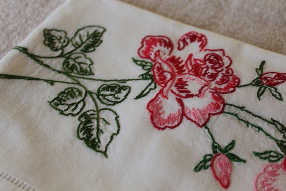 Vintage Cotton Pillowcase with Red and Pink Roses - Embroidery - Hem Stitching - Spring Fresh - Cotton Muslin
