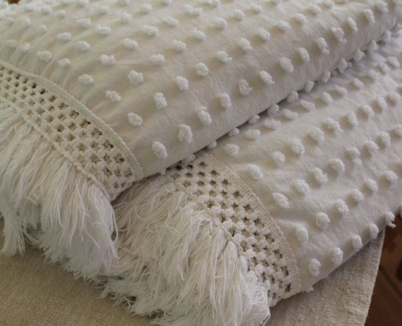 Pair Of Twin Vintage Chenille Bedspreads Beach By