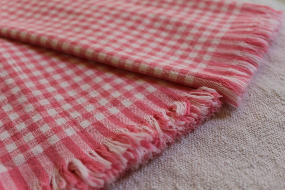 Vintage Kitchen Towels - Pink Check with Fringe - New Cannon - Pink and White Hand Towels - 1950s