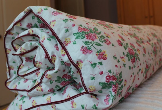 New Vintage Duvet Cover - Cotton Comforter and Blanket Cover - 1940s  - New Twin Full Queen - Red Pink Yellow Floral