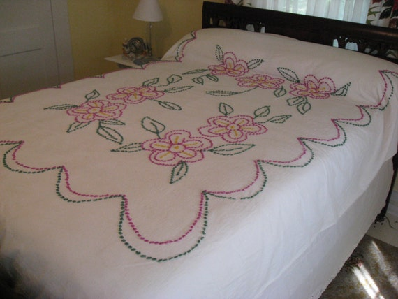 Sale - Vintage Chenille Bedspread - Handtufted in Bright Pink and Green Bed Coverlet - Twin - Full