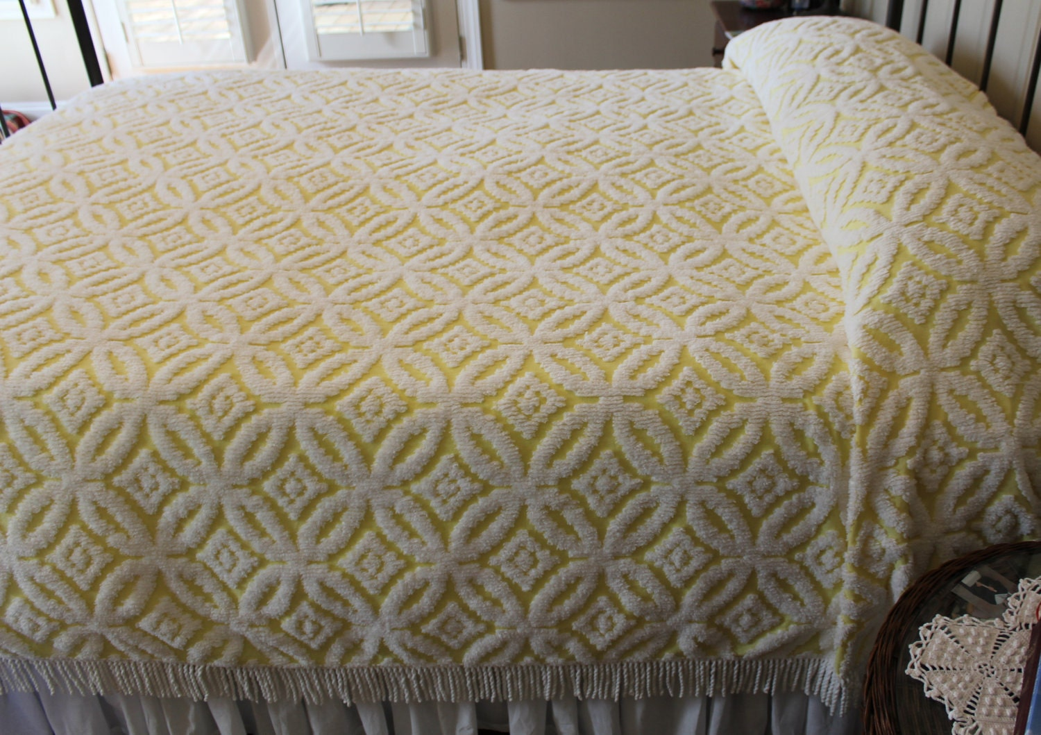 Vintage Chenille Bedspread Yellow Wedding Ring By