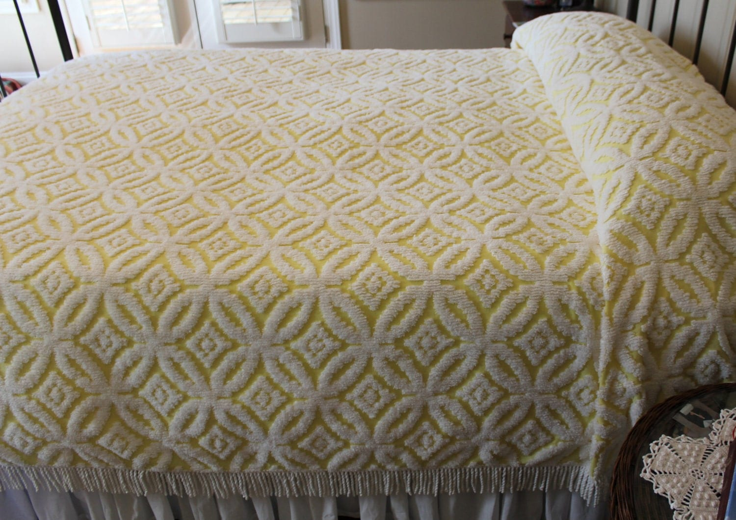 Vintage Chenille Bedspread Yellow Wedding Ring Fluffy And