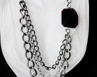 Multi-chain fancy asymmetrical necklace 401
