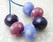 Lampwork Glass Beads Summer Berry Polkas