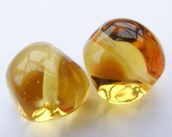 Glass Lampwork Beads Glass Golden Jewel Nugget