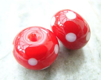 Lampwork Beads Light Red  Polka Pair