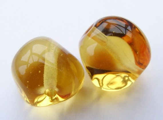 Lampwork Beads Glass Golden Jewel Nugget Beads