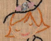 Brew Em, Hilda-- Hand embroidered framed vignette