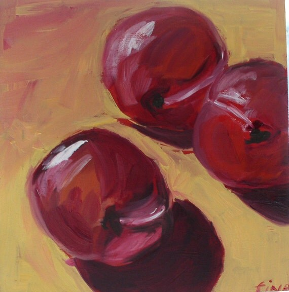 Red Plums  Original Oil Painting