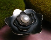 Oxidized Peony Cocktail Ring---made to your size