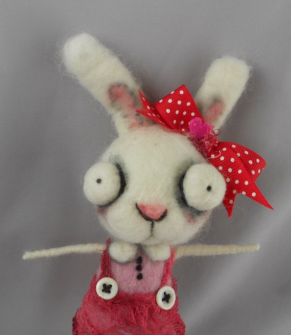 white  bunny  rabbit Ooak art doll