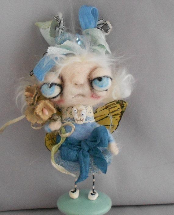 Tiny Fairy Ooak  needle felted art doll
