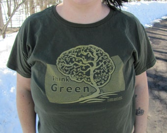 Womens Think Green Tshirt - Green/Gold - sizes Small to 3X