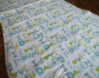 Blue I Love Mommy & Daddy Burp Cloth