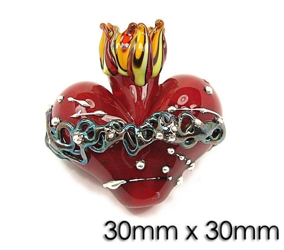 Sacred Heart Focal Lampwork Bead Torch By Night TGH