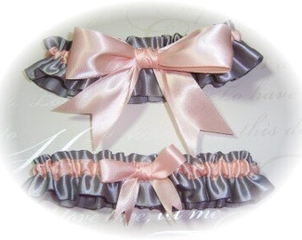 Gorgeous Platinum and Peach Keepsake and Toss Garter Set BB