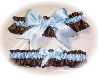 Gorgeous Brown and Light Blue Keepsake and Toss Garter Set BB