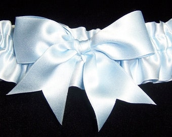 French Bow Garter in Light Blue Silk