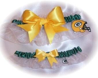 Green Bay Packers Inspired Wedding Garter Set Bridal Keepsake Toss WFG