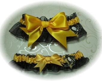 Pittsburgh Penguins Wedding Garter Set Keepsake and Toss   Handmade   Bridal Lingerie  bgg