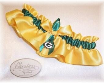 Green Bay Packers Wedding Garter with charm    Handmade  Keepsake Satin GF