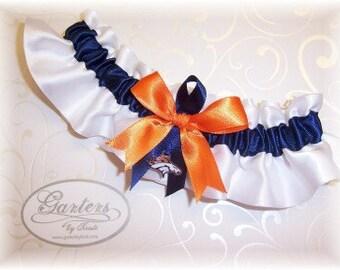 Denver Broncos Wedding Garter with charm Keepsake    Handmade  Satin W-NON