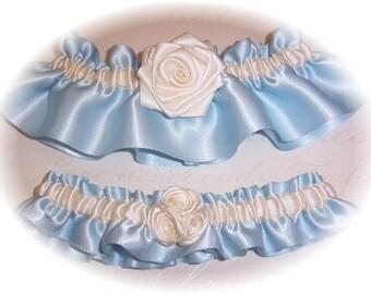 Light Blue and Ivory Wedding Garter Set with Handmade Roses