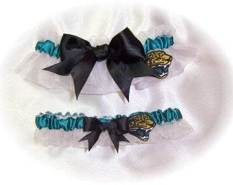 Jacksonville Jaguars Wedding Garter Set   Handmade   Keepsake and Toss Bridal  WTB