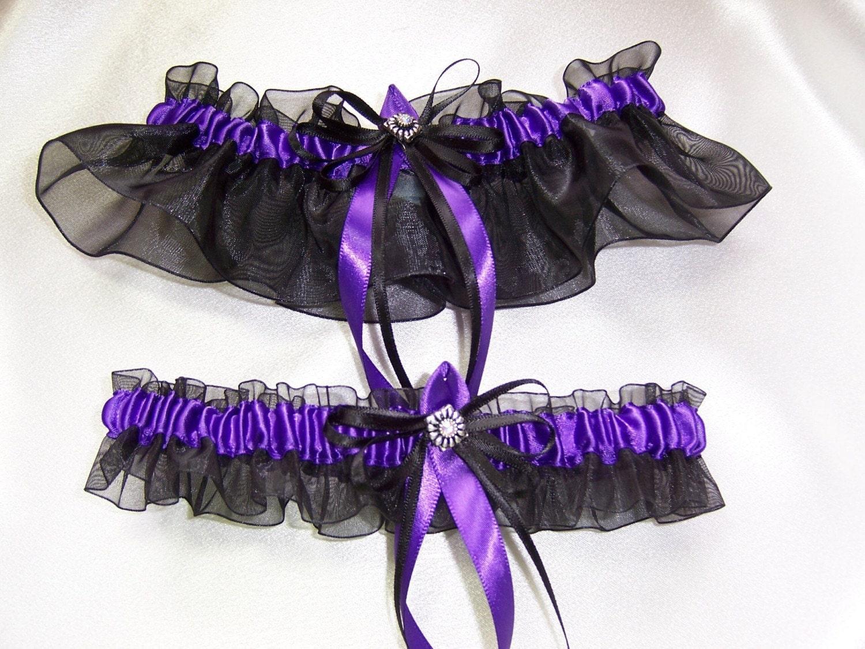 Black And Purple Wedding Garter Set Bridal Prom By GartersByKristi