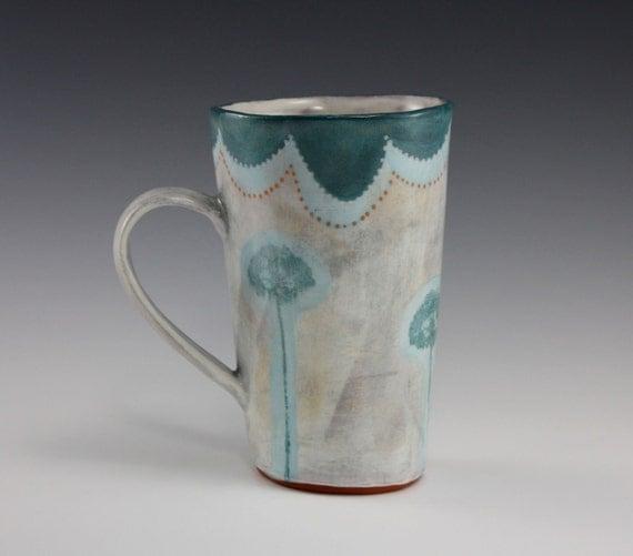 Tall Mug with flowers