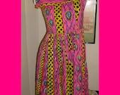 Vintage handmade pink punk EYEBALL dress - FREE shipping