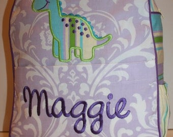 Custom Made Purple Damask Backpack for a Preschooler - shown with Dinosaur applique