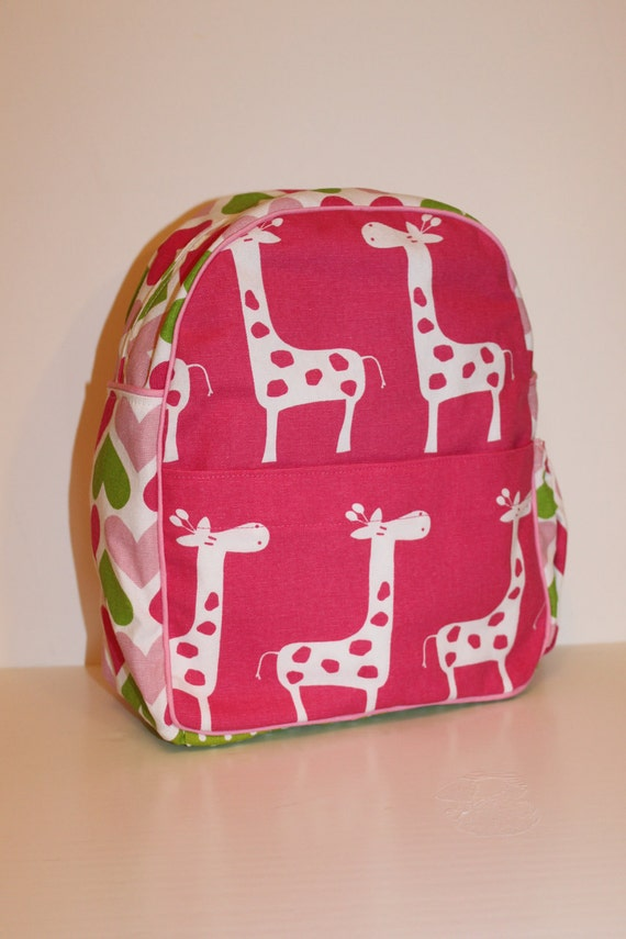 Pink Giraffes with Sweet Hearts Backpack for a Toddler  - Ready to Ship