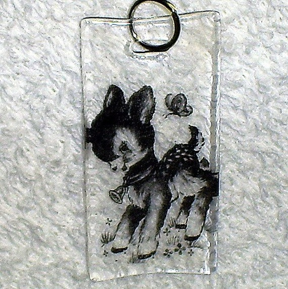 Vintage Image Little Deer with Butterfly Pendant