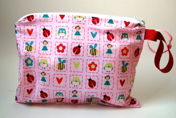 SALE Zippered Wet Bag with Handle/Link Loop Combo - Alphabet Soup  (Pink)  Free Shipping