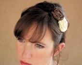 SALE - Rosette Headband - Santa Fe Days - Repurposed Tshirts and Tie - SALE