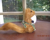 Little needle felted mama squirrel and baby